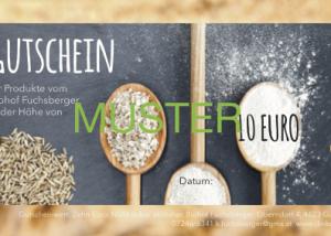 Gutschein Biohof Fuchsberger Muster